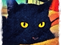 black cat digital pet portrait by Artist BZTAT