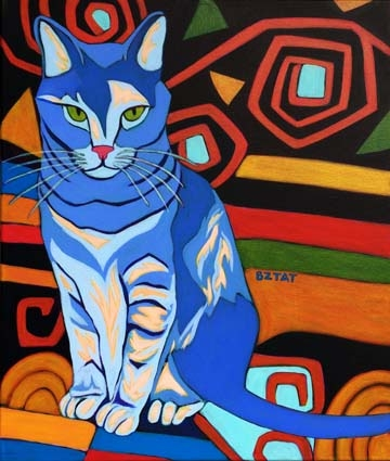 Contemporary Pet Portrait Painting of a Gray Tabby Cat