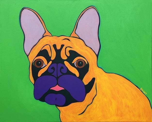 Custom Pet Portrait Painting of a French Bulldog