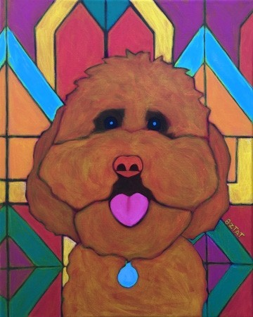 Custom Pet Portrait Painting of a Goldendoodle Dog