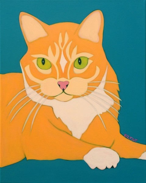 Contemporary Pet Portrait Painting of an Orange and White Cat