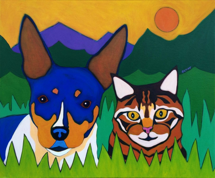 Rat Terrier and Tabby Cat Pet Portrait painting by BZTAT