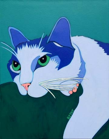 Custom Pet Portrait Painting of a gray and white cat