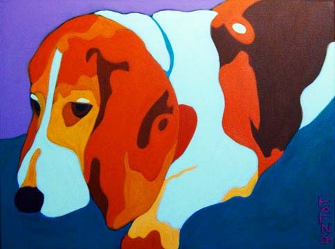 Custom Pet Portrait Painting of a Basset Hound dog