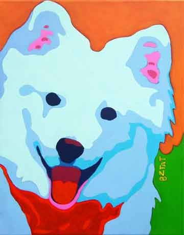 Custom Pet Portrait Painting of an American Eskimo Spitz dog