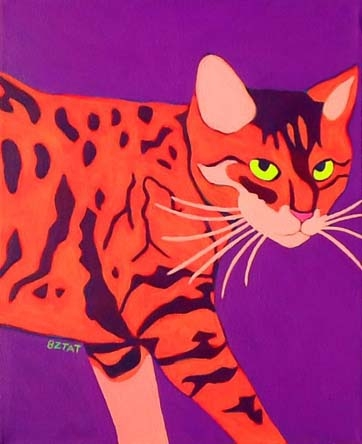 Custom Pet Portrait Painting of a Bengal cat