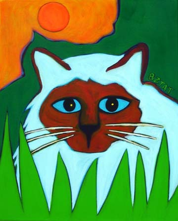 Custom Pet Portrait Painting of a Birman cat