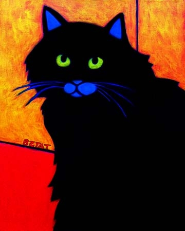 Custom Pet Portrait Painting of a black cat