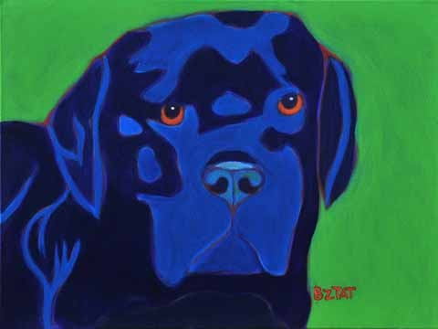 Custom Pet Portrait Painting of a black Labrador retriever