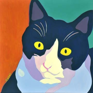 Custom Pet Portrait Painting of a black and white cat