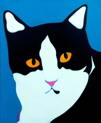 Custom Pet Portrait Painting of blackand white cat