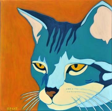 Custom Pet Portrait Painting of a gray tabby cat