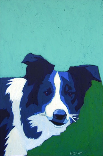 Custom Pet Portrait Painting of a Border Collie dog