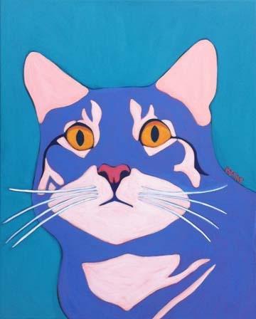 Custom Pet Portrait Painting of a gray tabby cat