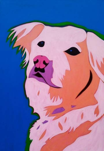 Custom Pet Portrait Painting of a golden retriever