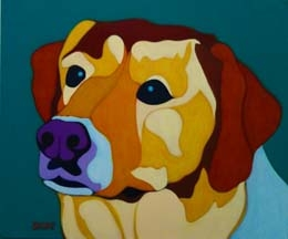 Custom Pet Portrait Painting of a golden Labrador Retriever