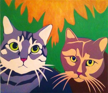 Custom Pet Portrait Painting of two tabby cats