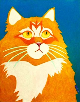 Custom Pet Portrait Painting of an orange Maine Coon cat