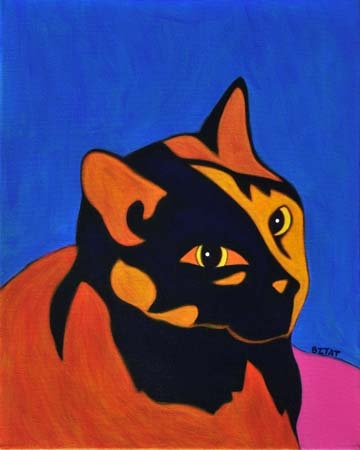 Custom Pet Portrait Painting of tortoise shell cat