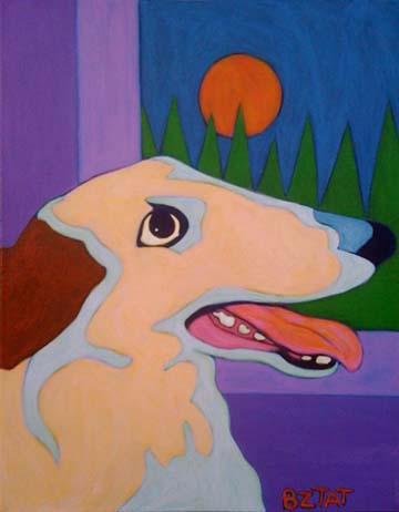 Custom Pet Portrait Painting of a Borzoi dog