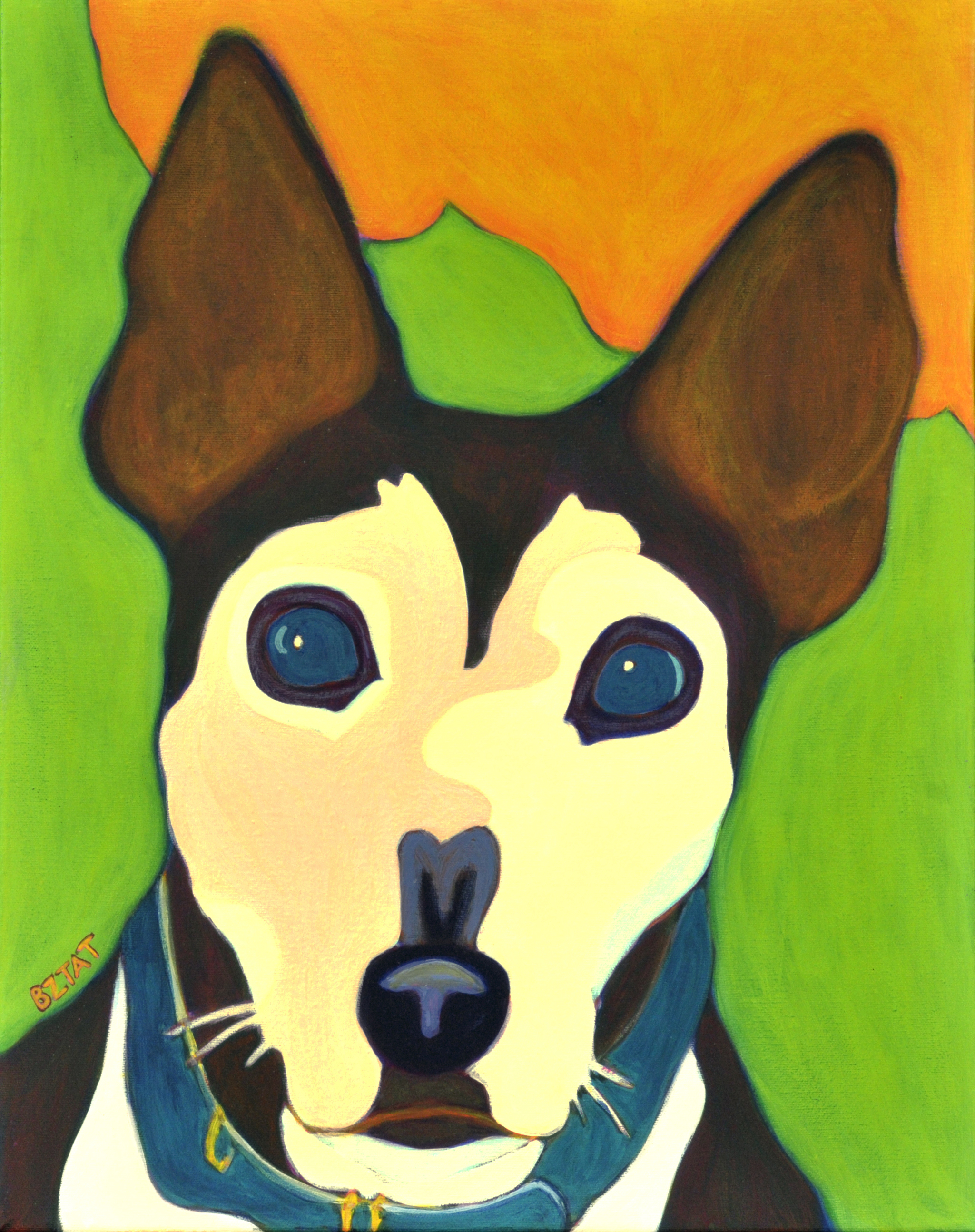 Custom Pet Portrait Painting of a corgi mix dog