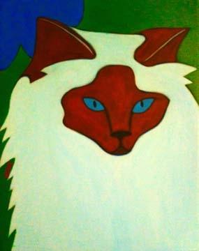 Custom Pet Portrait Painting of a Birman cat
