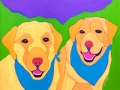 Custom Pet Portrait Painting of two golden Labrador Retrievers