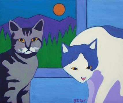 Custom Pet Portrait Painting of two cats