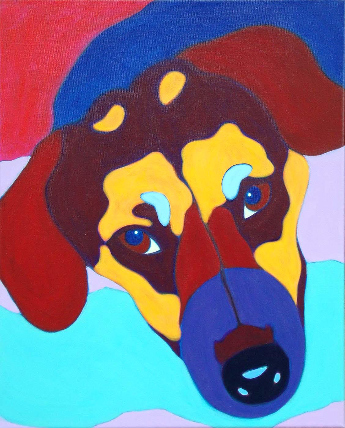 Custom Pet Portrait Painting of a shepherd mix dog