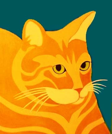 Custom Pet Portrait Painting of an orange tabby cat