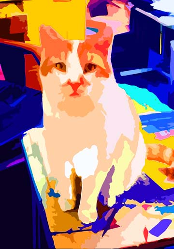 Orange White Cat Custom Digital Fine Art Pet Portrait by Animal Artist BZTAT
