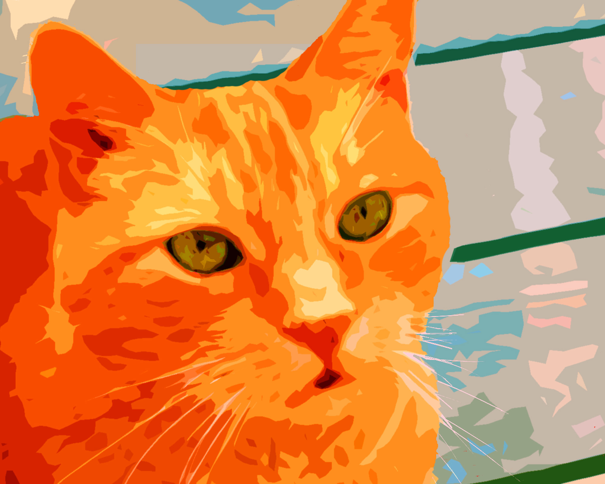 Orange Tabby Cat Custom Digital Fine Art Pet Portrait by Animal Artist BZTAT