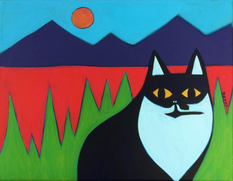 5-Black-white-tuxedo-cat-painting-landscape-whimsical-painting-BZTAT