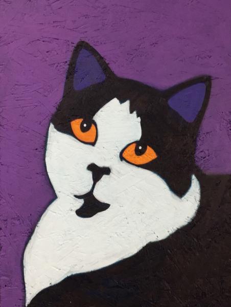 simon-black-white-cat-portrait-painting-whimsical-contemporary-folk-art-BZTAT