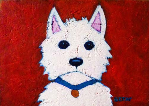 Custom Contemporary Folk Art Pet Portrait Painting by Animal Artist BZTAT