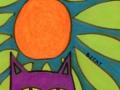 26. Purple Cat Drawing Card (Blank Inside)