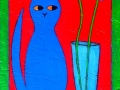 """Blue Cat with Flowers"""