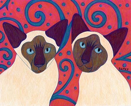 Contemporary Custom Pet Portrait Drawing of Two Siamese Cats by Animal Artist BZTAT