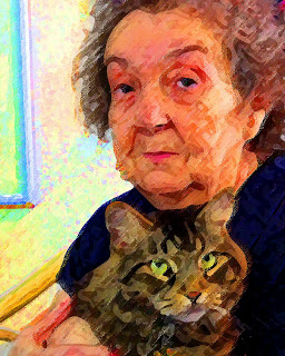 Maine coon cat with woman Alzheimers