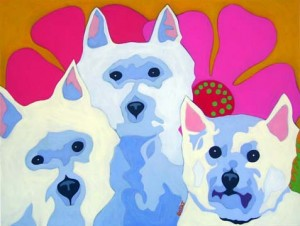 Contemporary pet portrait of 3 Westies