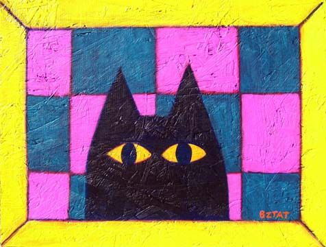 Black Cat on Checkerboard