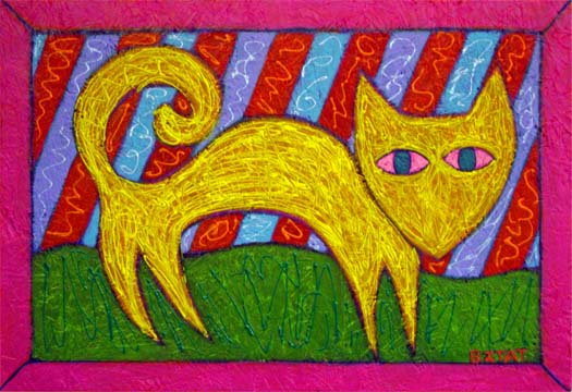 Fauve Yellow Cat painting
