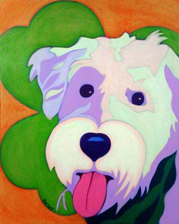 Seamus Finnegan Wheaten Dog Custom Pet Portrait Painting