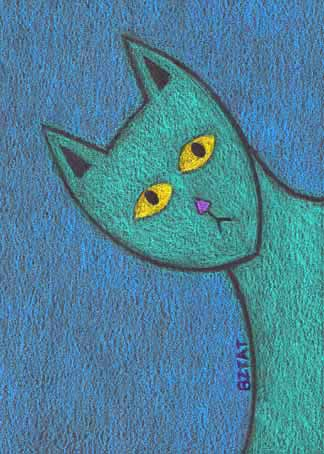 Curiosity cat drawing blue prismacolor animal artist BZTAT