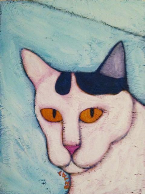 Okey white cat painting