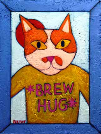 Brew Hug cat painting