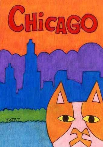 Brewskie-Butt-cat-drawing-Chicago-skyline