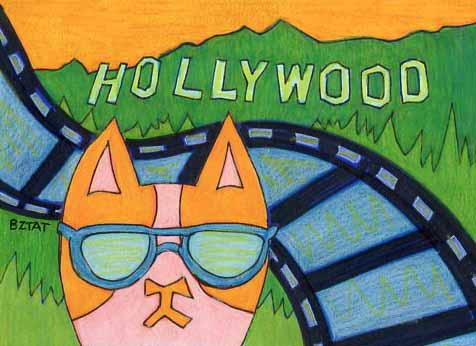 Brewskie-Butt-cat-drawing-Hollywood-sign-skyline