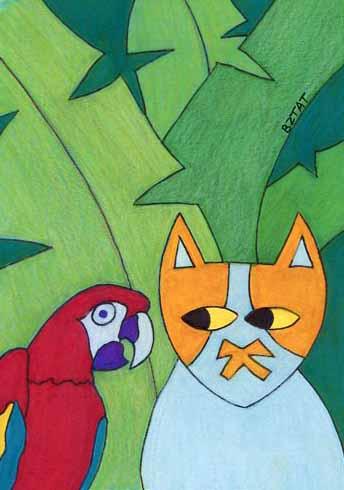 Brewskie-Butt-cat-drawing-Amazon-rainforest
