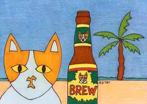 Brewskie-Butt-ginger-white-cat-on-beach
